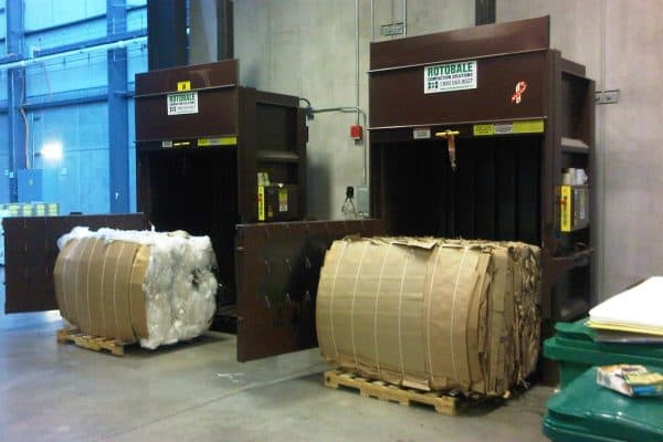 vertical cardboard baler from Rotobale Compaction
